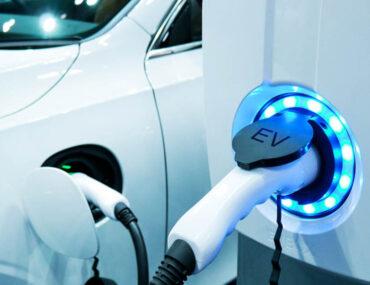 Electric car plugged in