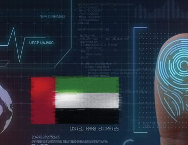 Graphic showing fingerprint scan and UAE flag