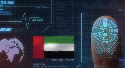 Graphic showing fingerprint scan and UAE flag