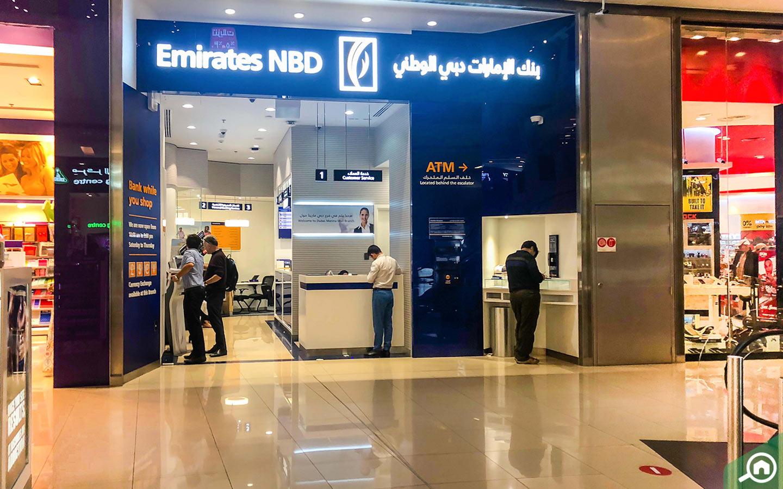 Exterior view of the Emirates NBD Bank in Dubai Marina mall