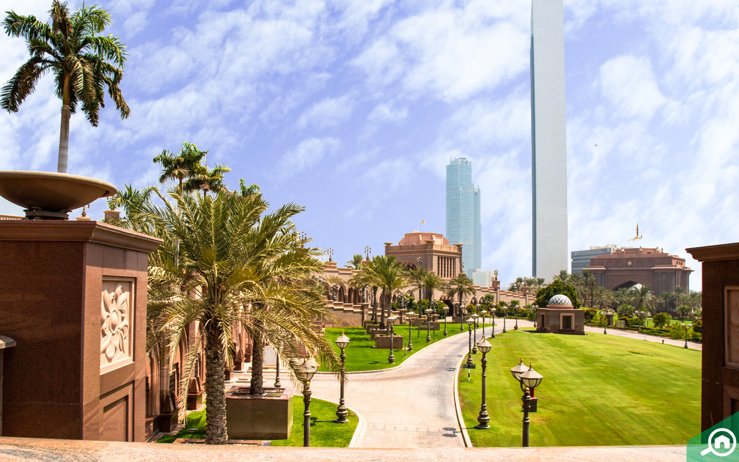Location of Emirates Palace hotel Abu Dhabi