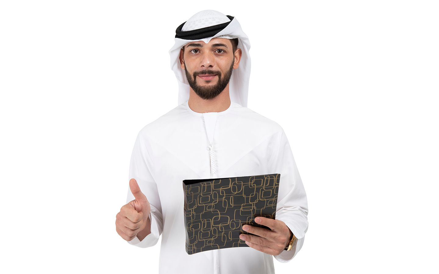 Emirati man standing with a folder with documents required for Emirates ID application