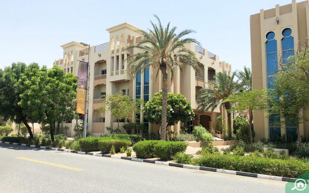 Street view of flats in DIP Dubai