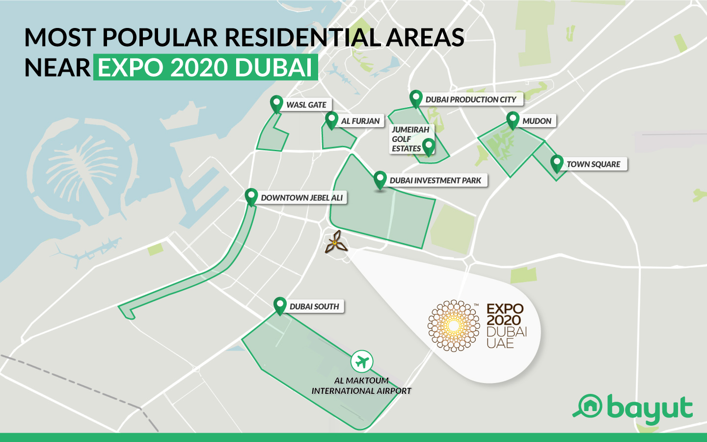 Map of top Dubai residential areas near the Expo 2020 site