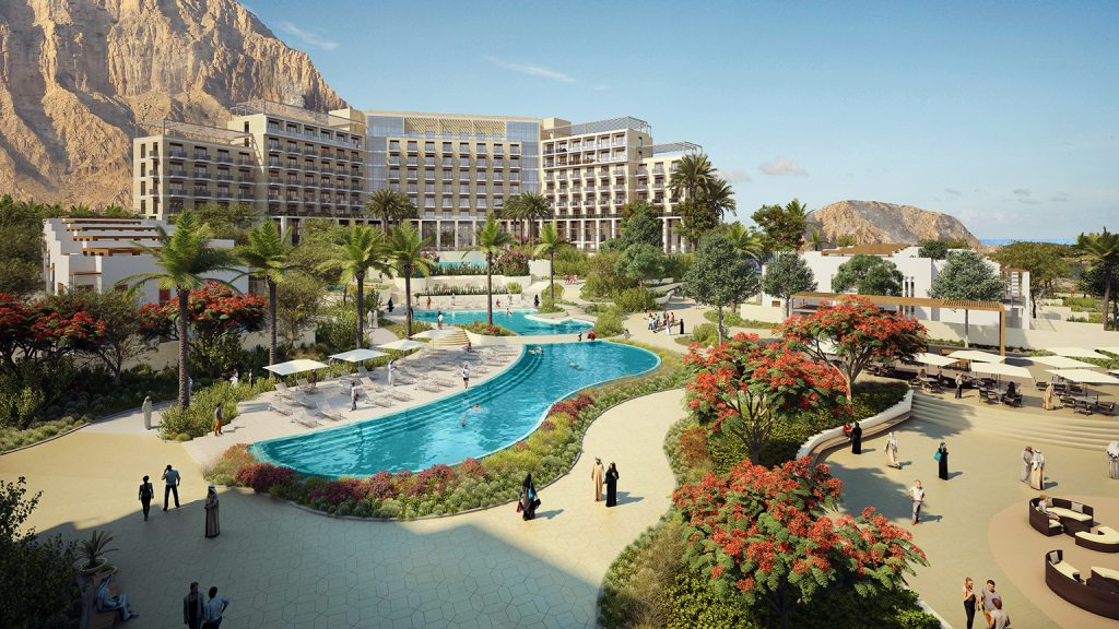The planned central hub plaza of The Address Residences Fujairah Resort & Spa with pool and serviced apartments for sale to be completed by Q3 2017 by Eagle Hills Abu Dhabi-based Developer