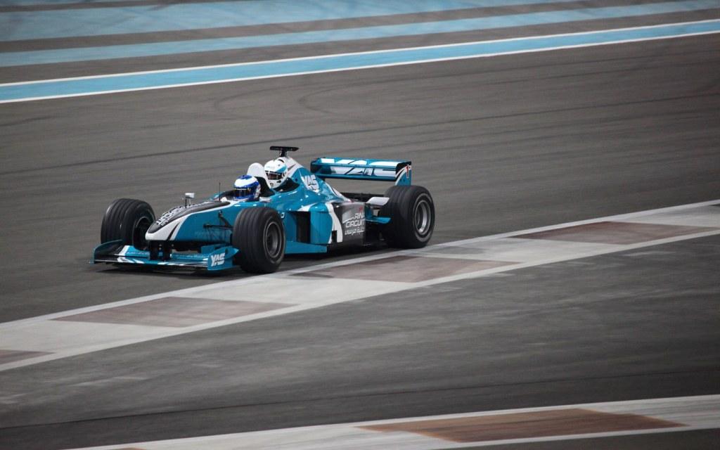 Race car on Yas Marina Circuit