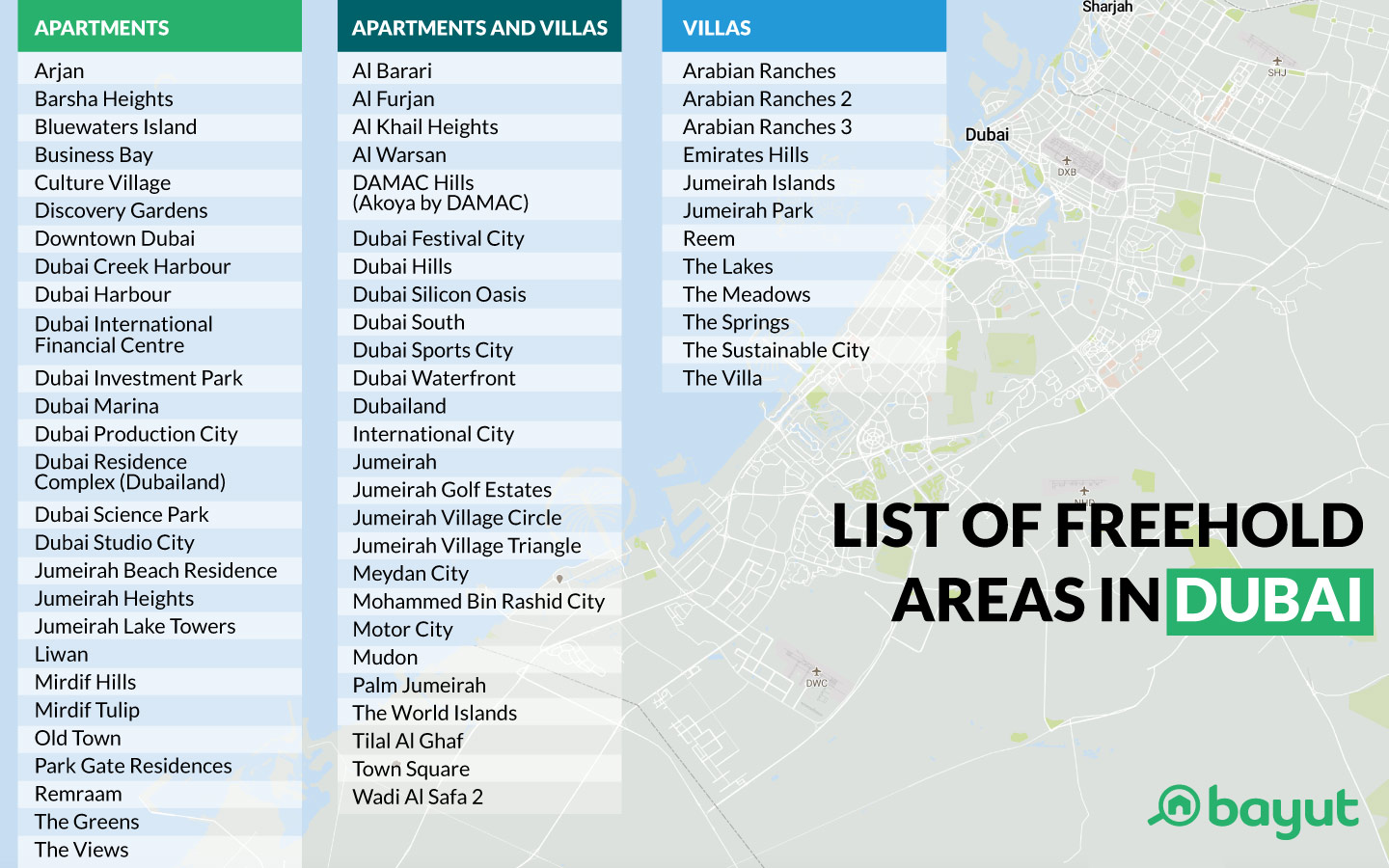 Dubai freehold areas map