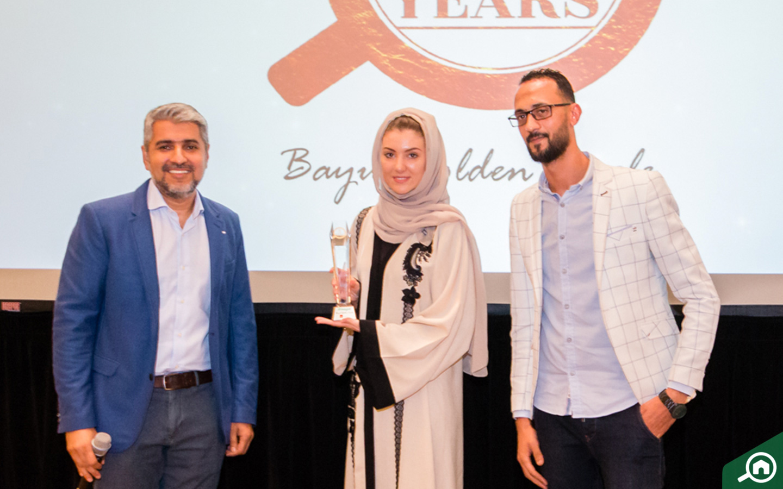fäm Properties, Dubai receiving the Golden Circle award at the Bayut Iftar