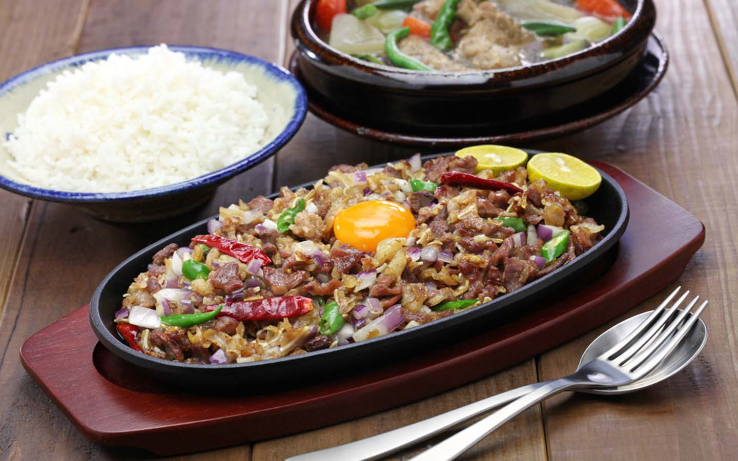 Filipino cuisine served with rice