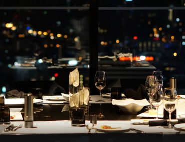 A dinner table at a fine dining restaurant in Abu Dhabi