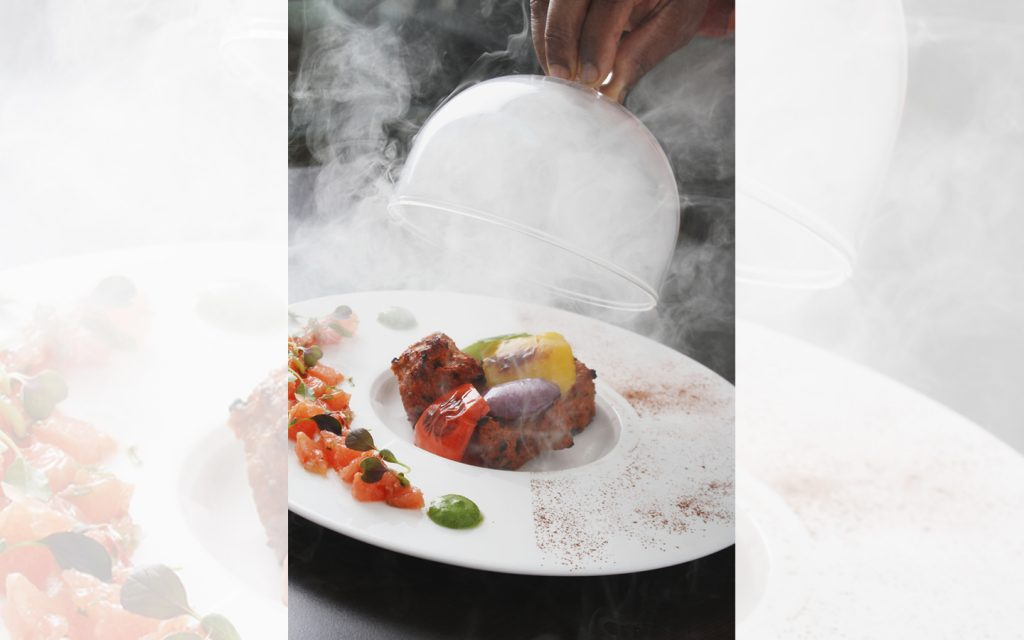 Chicken tikka served at a fine dining indian restaurant in Abu Dhabi