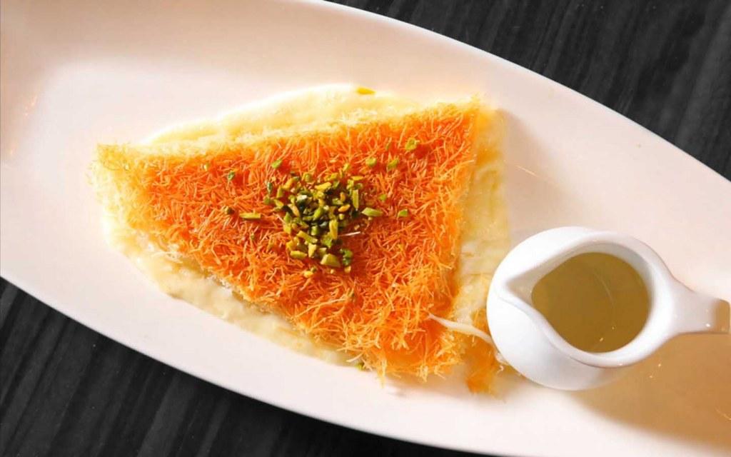 Kunafa with sugar syrup at fine dining Arabic restaurant in Abu Dhabi