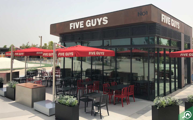 Five Guys, one of the popular fast food restaurants in La Mer