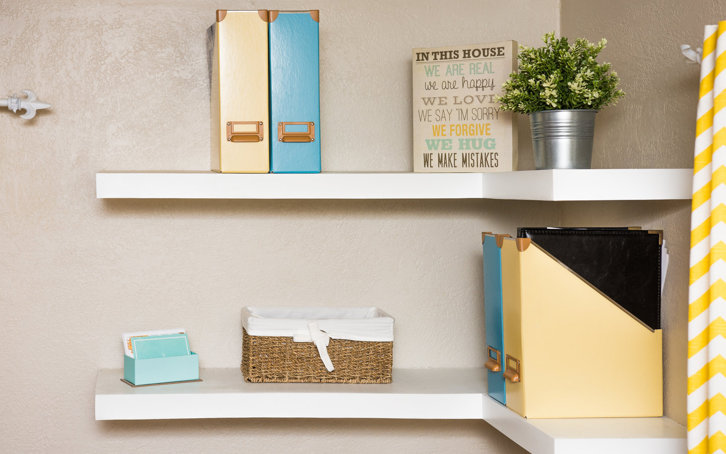 White Floating Shelves as storage ideas for small spaces
