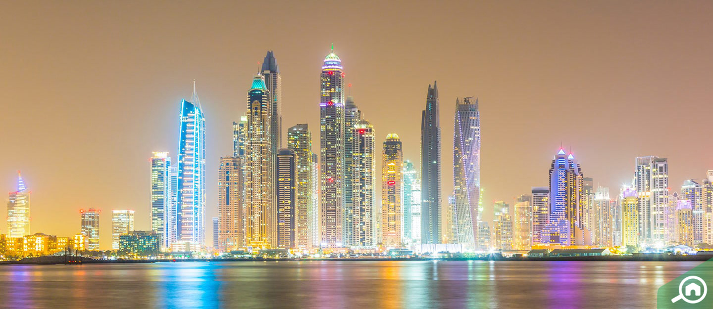 View of Dubai Marina buildings, one of the freehold communities in Dubai