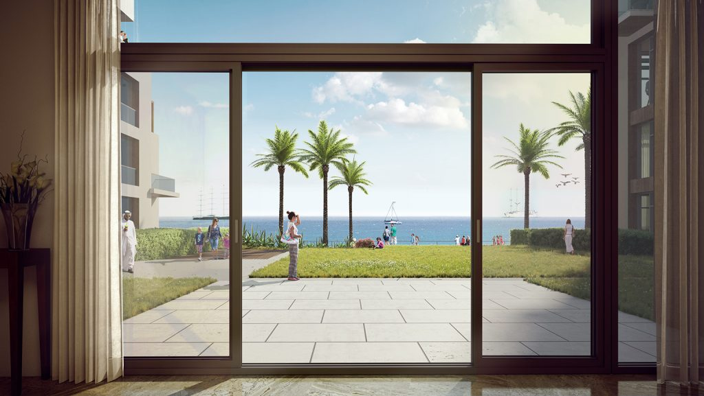 The view from inside The Hotel overlooking the beach of The Address Hotel Luxury Residences & Spa in Fujairah, UAE