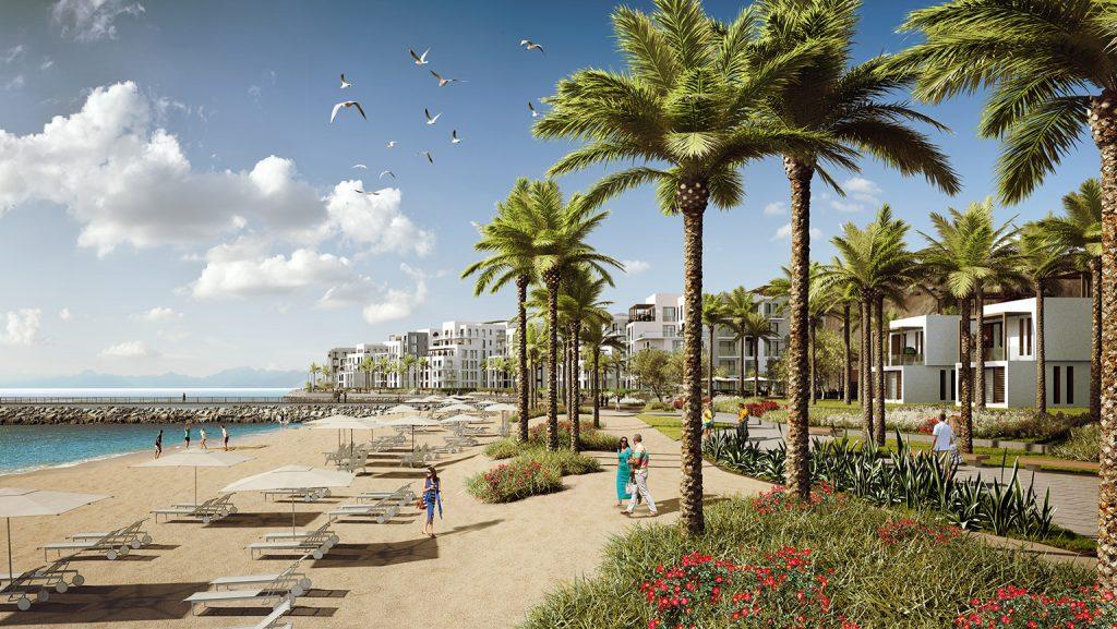 A planed promenade at The Address Fujairah Resort & Spa on the east coast of the UAE