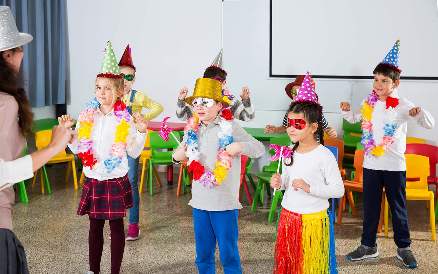 Students under going a fun activity inan American School in Sharjah
