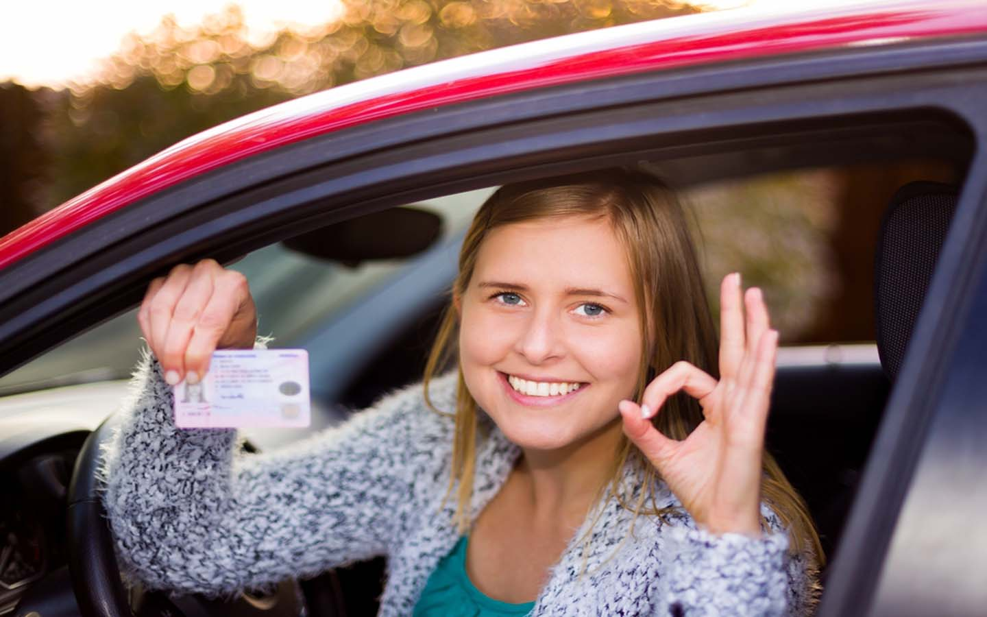 Girl with a driving license