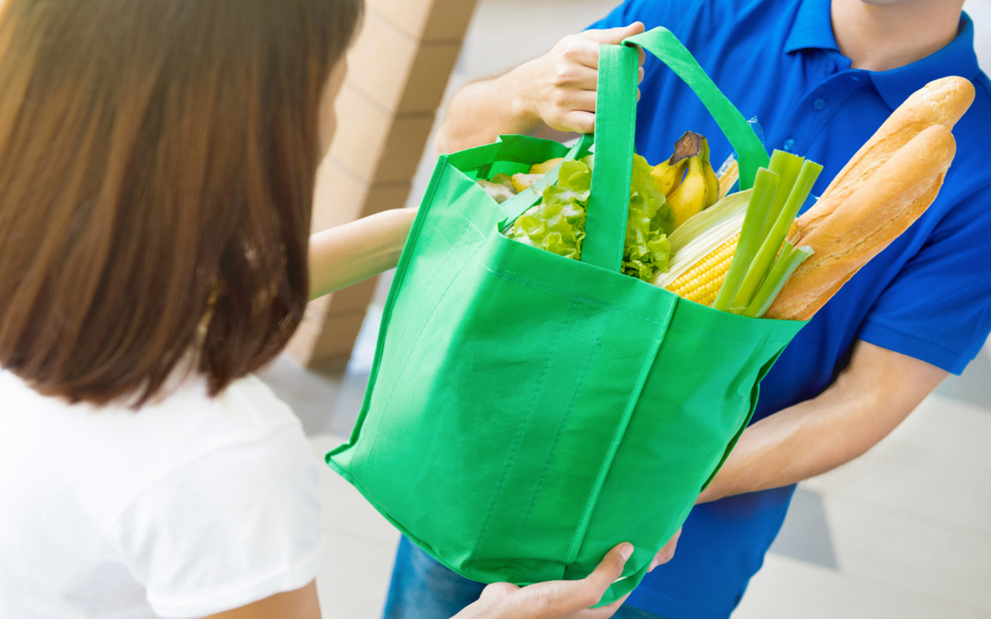 Grocery in reusable bags
