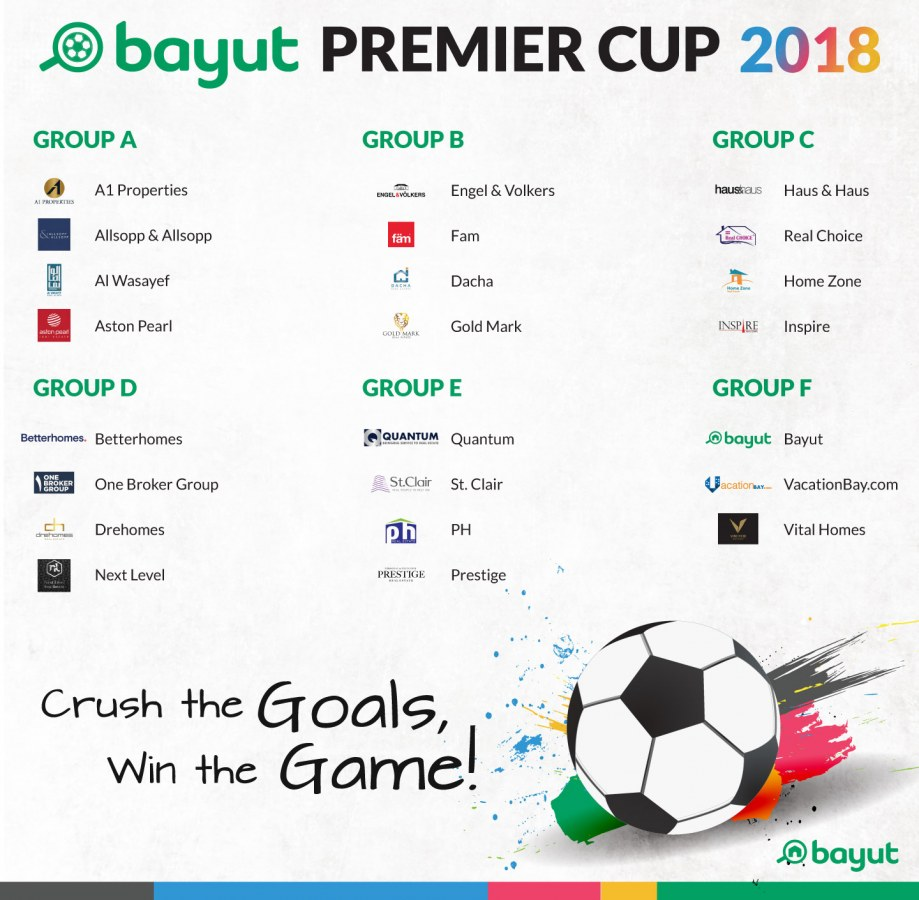 Groups for Bayut Premier Cup 2018