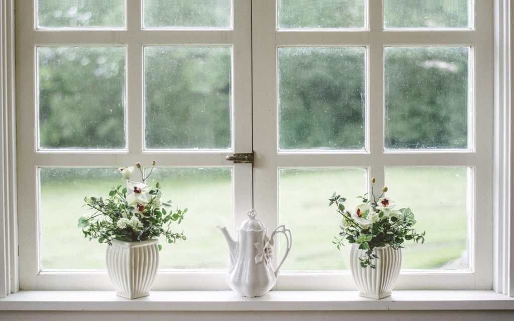 A window with plants and tea pot
