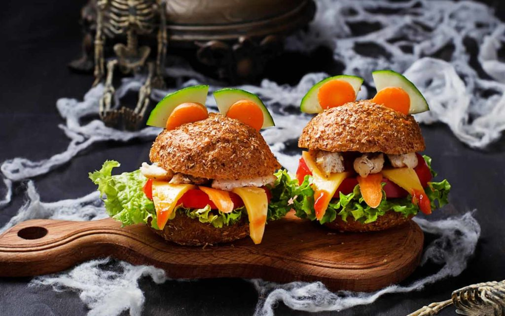 Halloween themed burgers at a party