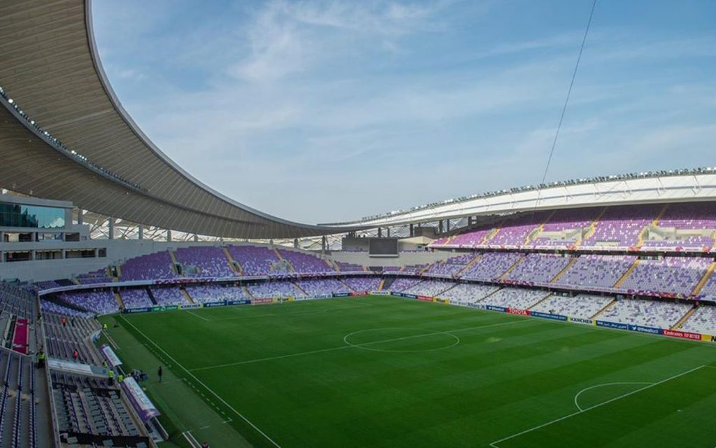 Hazza Bin Zayed Stadium pitch and seating area