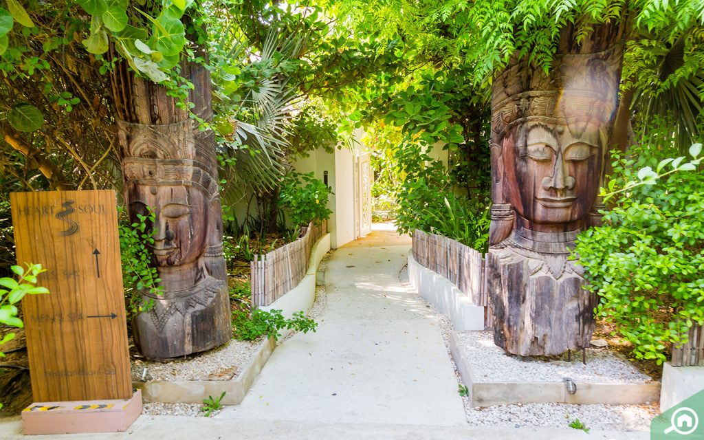 Entrance to the Al Barari spa, Heart and Soul