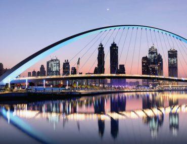 Dubai skyline with Bridge of Tolerance