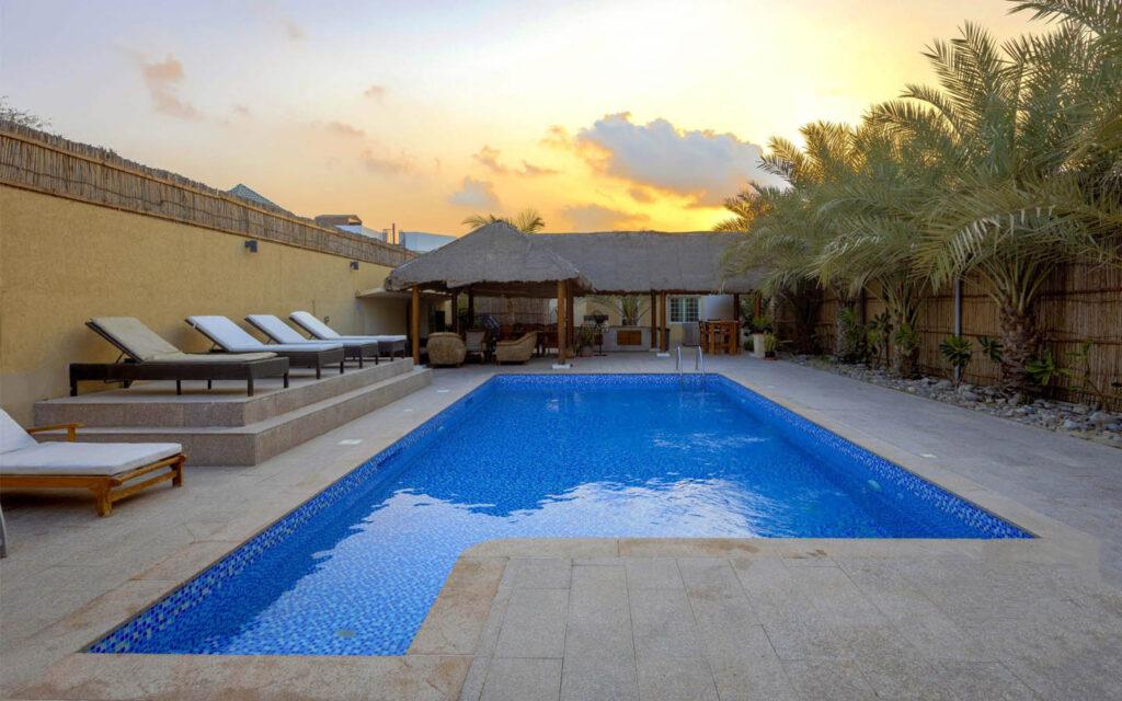A view of the private pool in Dar 66 villa