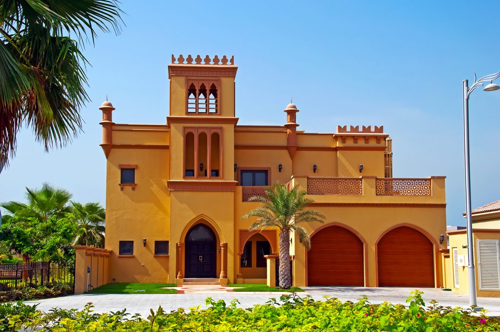 View of a classic Dubai home on a sunny day