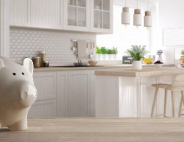 kitchen with piggy bank