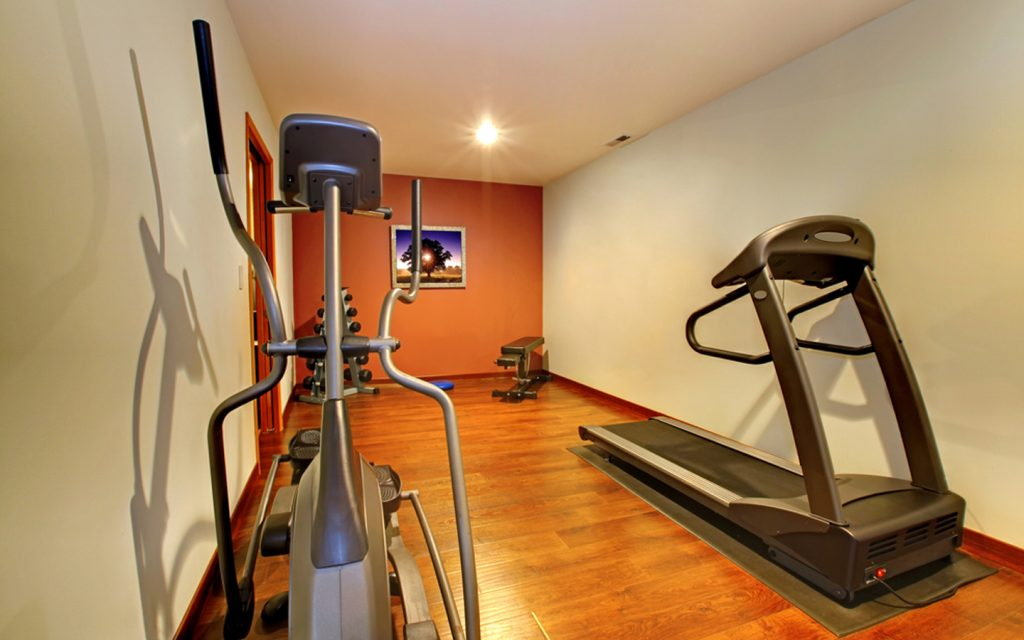 A rectangular home gym
