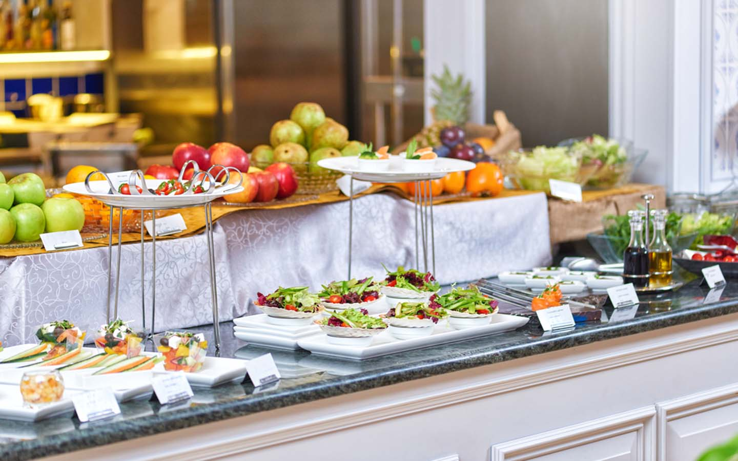 Breakfast buffet at one of the hotels near Abu Dhabi airport