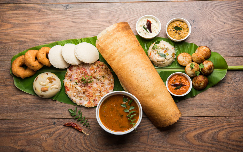 South Indian Thali with Idly, sambhar