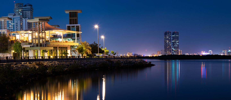 Image of RAK Corniche at night