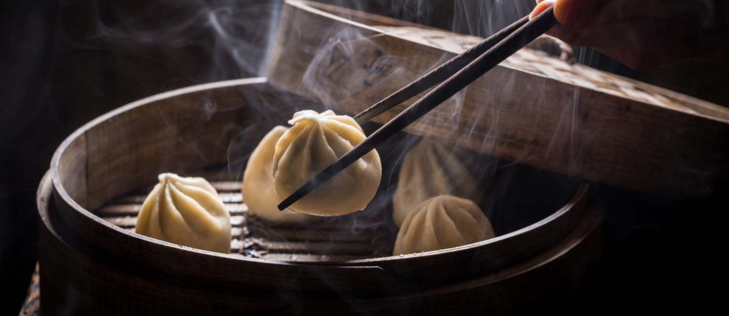 steaming hot dim sum in Dubai