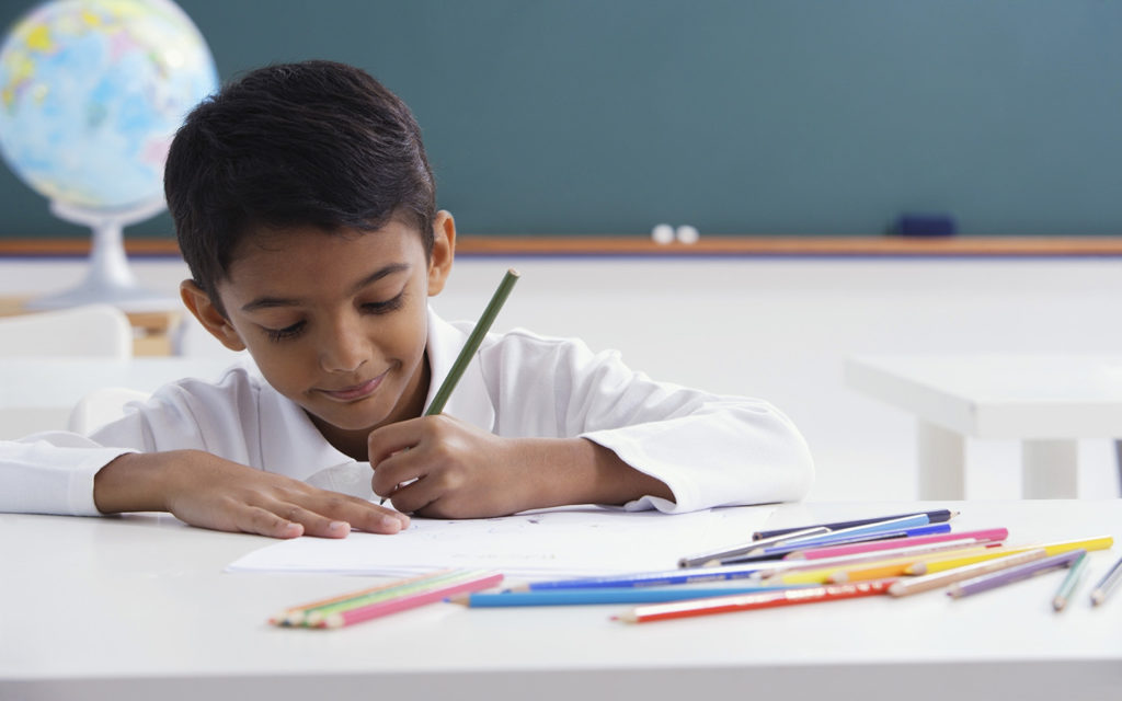 Student in a class at an Indian School in Ras Al Khaimah