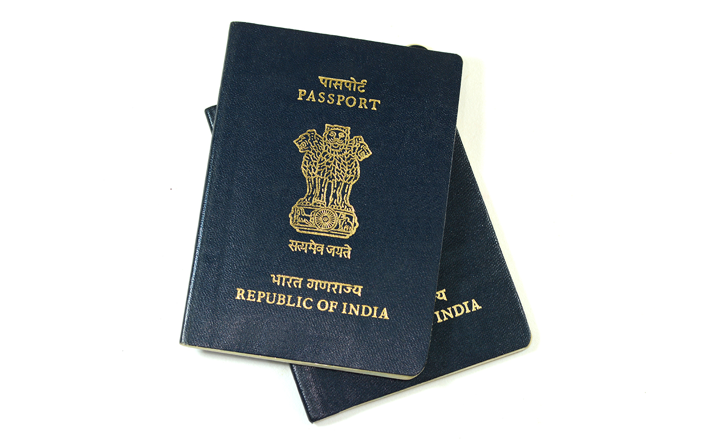 Indian passports on a white background