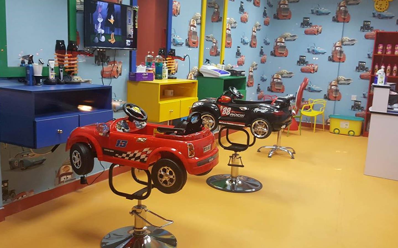 Interior of Keep Cut kid's salon in Abu Dhabi