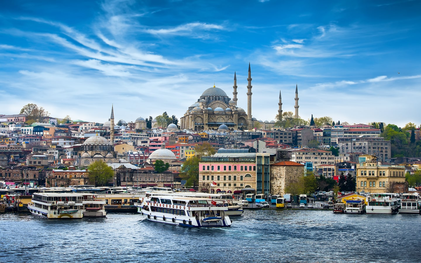 View of Bosphorus river and mosque in Istanbul