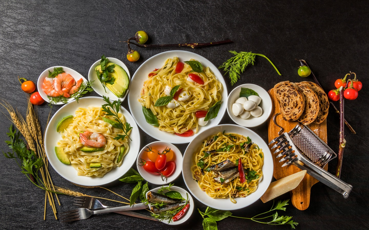 Pasta and side dishes showing Italian food