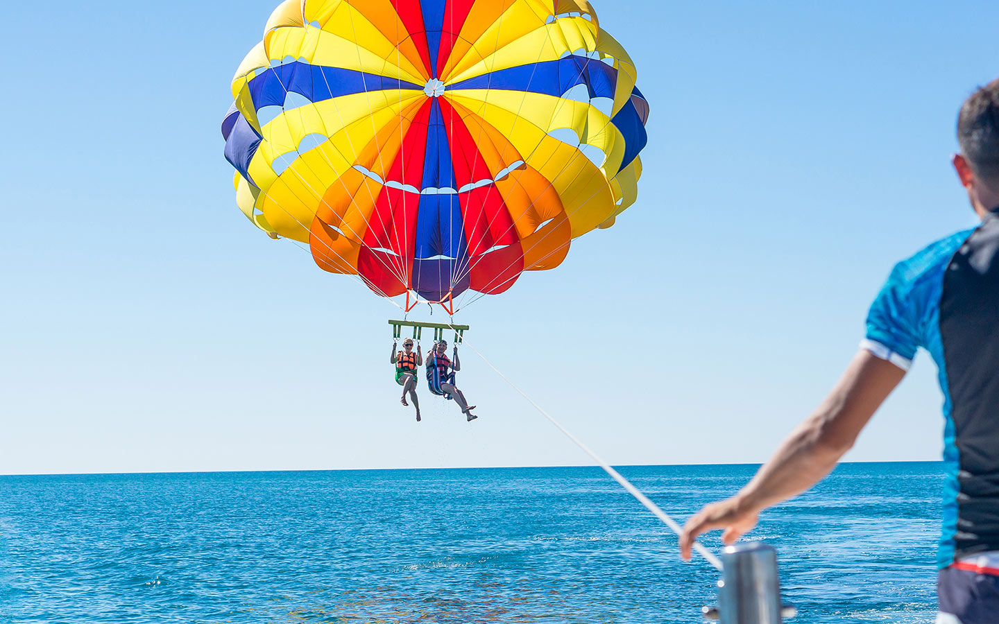 Couple parasailing at JBR Beach Dubai