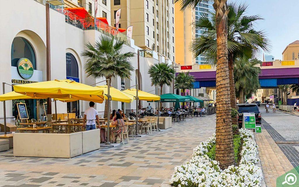 Street view of restaurants in JBR Walk