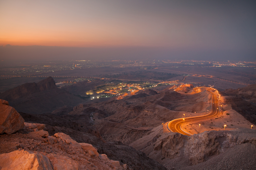 A sunset view of the Jebel Hafeet Mountain in Al Ain