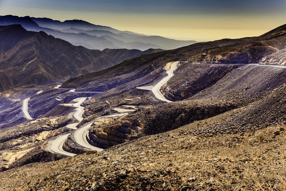 The Jebel Jais Mountains in Ras Al Khaimah UAE with winding roads