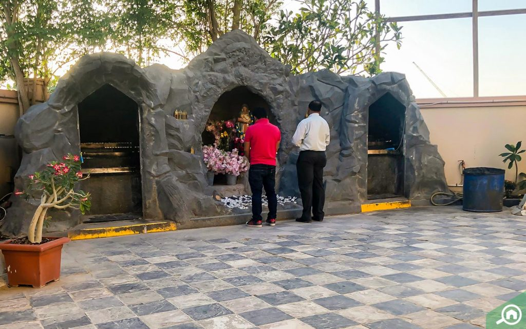 Outside grotto in the Jebel Ali Church of St. Francis of Assisi in Dubai