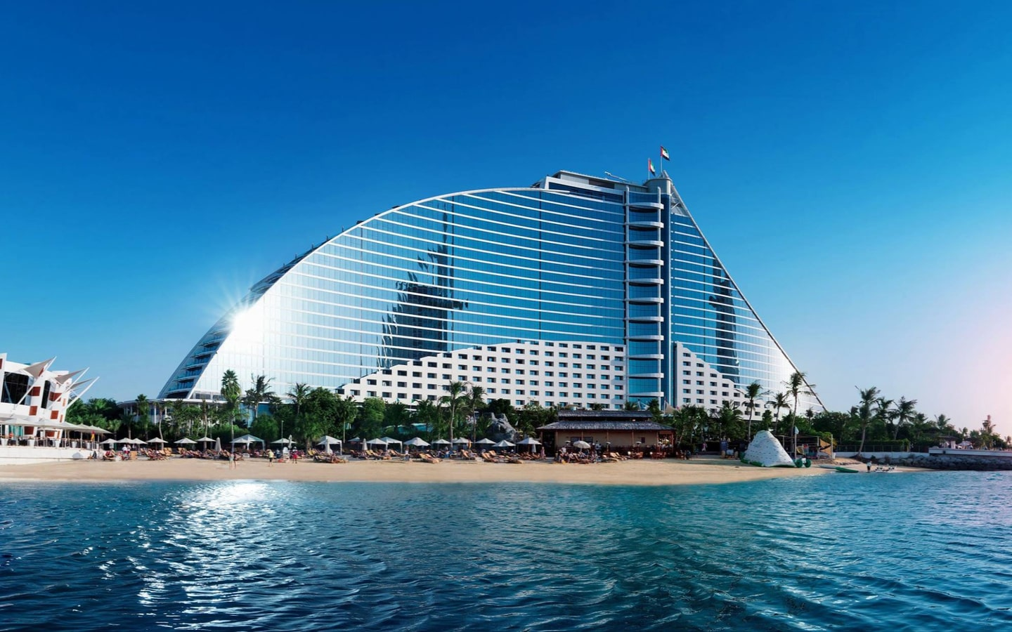 View of the Jumeirah Beach Hotel, and the beach, which is offering New Year hotel deals