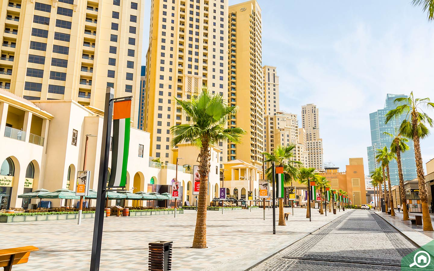 The Walk at JBR with apartment buildings in background
